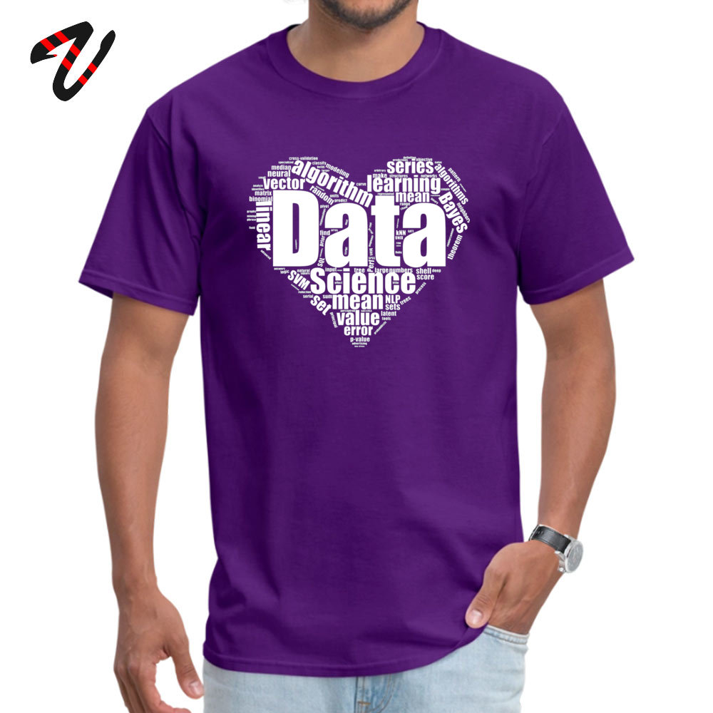 Data Science Love Crew Neck T Shirts Lovers Day Tees Short Sleeve Company Cotton Fabric Personalized T Shirts Birthday Men Data Science Love -13189 purple