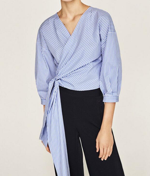 2017ss Nueva Raya Azul Camisa Recortada Crossover Wrap Frente con pajarita Cintu