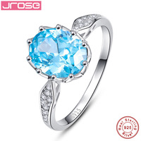 CQueen10x8mm 2 5CT Oval Cut Swis Blue Topaz Solid 925 Sterling Silver Ring Wedding Jewelry For
