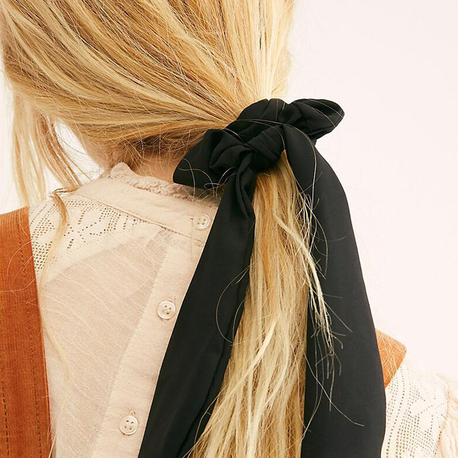 Ruoshui Woman Solid Streamers Scrunchies Girls Hair Ring Ribbon Hair Ties Gum Rope Women Hair Accessories Horsetail   Headwear