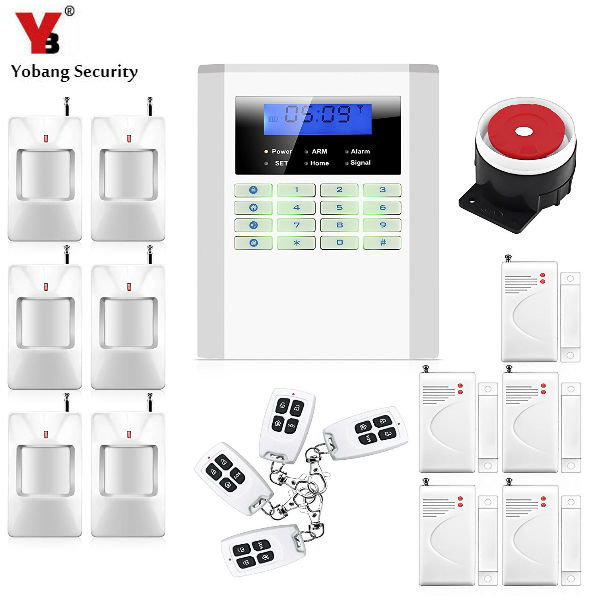 YobangSecurity GSM PSTN English Rssian Spanish Czech Voice Wireless Wire Home Security Alarm System 433MHz PIR/Door Alarm Sensor yobangsecurity home gsm pstn alarm system 433mhz voice prompt lcd keyboard wireless alarma gsm with outdoor siren flash