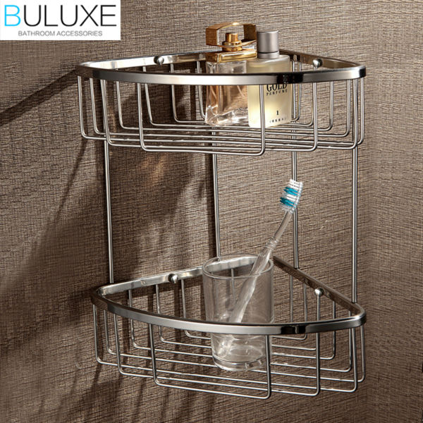 BULUXE Brass Bathroom Corner Shelf Dual Tier Wall Mounted,Bath Shelf Bathroom Accessories accessoire salle de bain HP7732 sc06e auto ac compressor for car toyota daihatsu terios 4 grooves 447220 6910