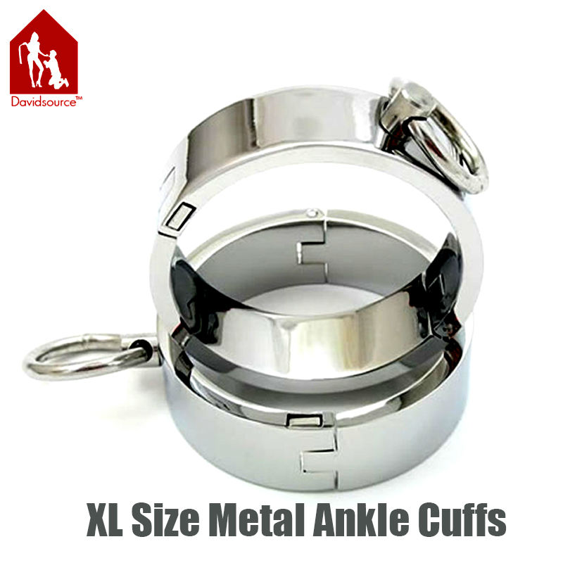 Davidsource Lockable Stainless Metal Men Ankle Cuffs Restraint Locking Shackle Slave Bondage Gear Adult Fantasy Sex Toy