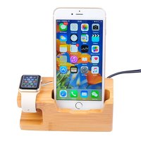 Wood Bamboo Phone Station 15W 3A 3 Port USB Charger Dock Stand Holder For Watch IPhone