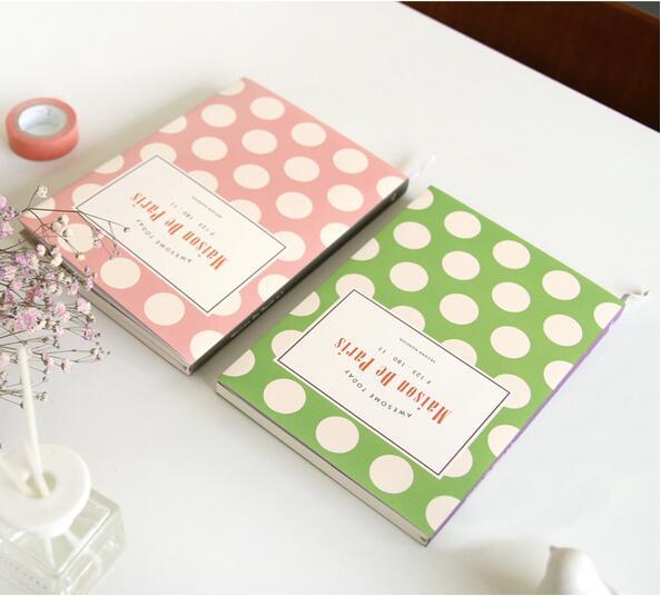 Härliga rosa prickar Paris temagrupp 12,7 * 18cm utat veckoplanerare 176 sidor DIY dagbok Koreansk mode brevpapper gåva