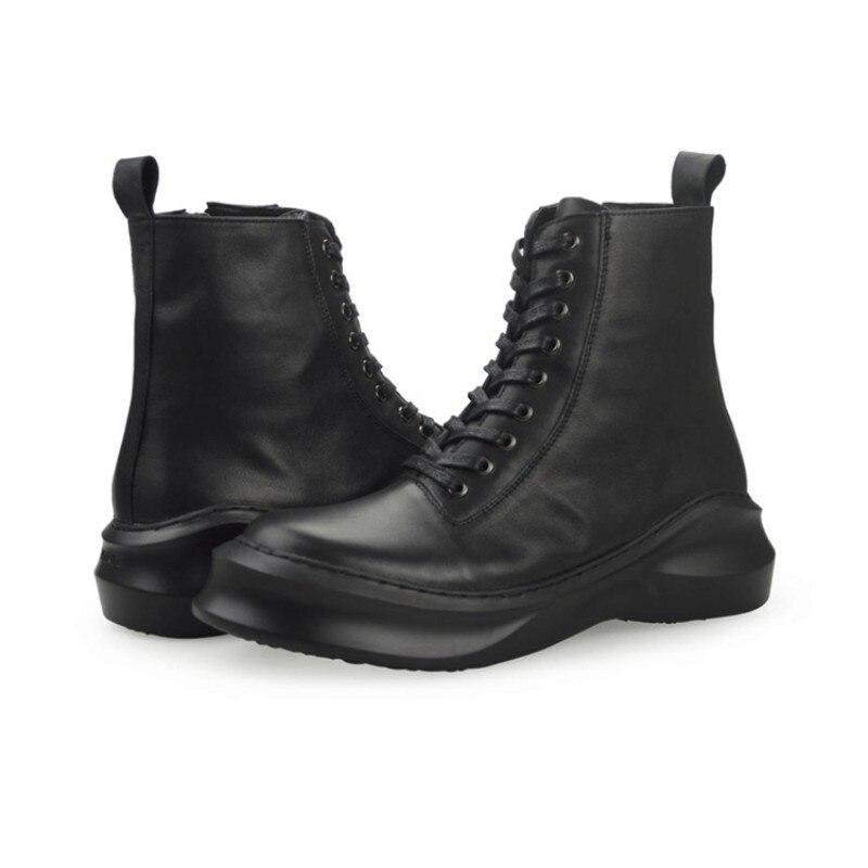 Couro Plataforma Preto Trabalho Sapatos Lace Real Up De Martin Alta Retrô Tornozelo Black 100 Segurança Militar Top Britânico Homens Botas wUqpxvX8