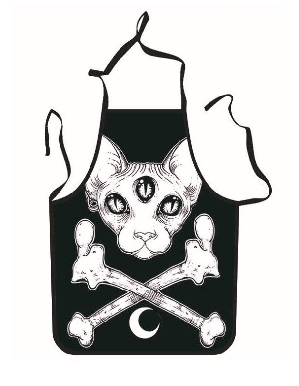 Funny Aprons Skull Cat Printing Adult Kitchen Apron Dinner Party Cooking Apron Adult Baking Accessories Wholesale