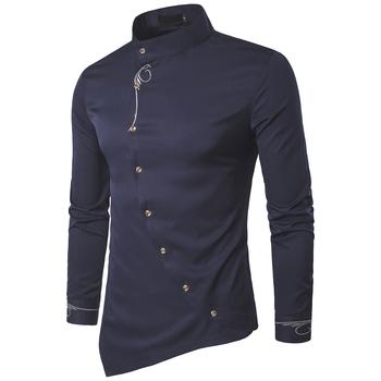 2020 moda koszula męska marki osobowości ukośne przycisk stójka mężczyźni Tuxedo koszule z długim rękawem dla mężczyzn duży rozmiar 2XL tanie i dobre opinie Acacia Person COTTON Włókno poliestrowe Pełna Skręcić w dół kołnierz Pojedyncze piersi REGULAR CS032 Suknem Na co dzień