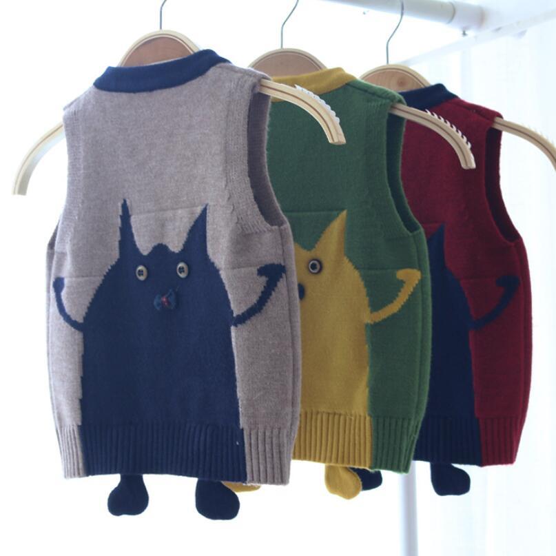 6095eaf2f chinatera Boys Girls Knit Vest Spring Autumn Sleeveless Cute Ears ...