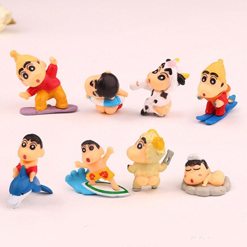 8pcs/lot PVC Crayon Shinchan Figure Toy, Cute Crayon Shin Chan Action Figure Models, Hot Cartoon Anime Brinquedos Kid Toys цена 2016