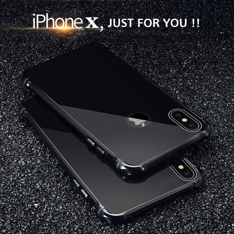 Per Apple iPhone X 10 Caso di Lusso Glitter Dura Sottile di alluminio Del Respingente Del Metallo Cassa Del Telefono Armatura Protettiva Antiurto Posteriore copertura