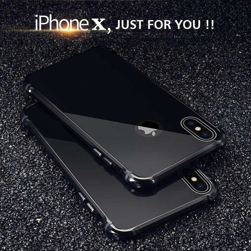 Per il iphone di Apple X 10 Caso di Lusso Scintillio Sottile Duro di Alluminio Del Respingente Del Metallo Armatura Protettiva Antiurto Posteriore Della Cassa Del Telefono copertura