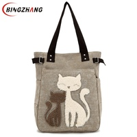 Fashion Women Canvas Handbag Cute Cat Appliques Travel Shoulder Bags Causal Lady Handbags Female Shoulder Tote
