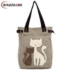 Fashion Women Canvas Handbag Cute Cat Appliques Travel Shoulder Bags Causal Lady Handbags Female Shoulder Tote Bags L4-2544