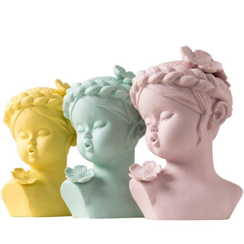 Nordic Stil Kreative Keramik Zeichen Avatar Skulptur Ornamente Hause Dekoration Baby Gesicht Statue Desktop Handwerk Hochzeit Geschenk-in Statuen & Skulpturen aus Heim und Garten bei  Gruppe 1
