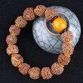 Cinco Pétala Contas Rudraksha Pulseira Puro e Natural de Alta Qualidade Espaçador Amarelo Acessórios de Moda 1.5 cm Contas Buddha Pulseira