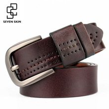SEVEN SKIN cowhide genuine leather belts for men pin buckle straps male casual vintage jeans cintos masculinos ceinture homme
