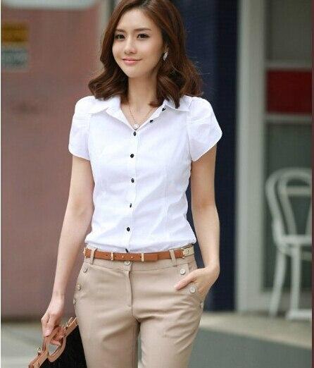 Summer New Korean Fashion Clothes Puff Short Sleeve Shirt Women Lapel Button Shirt Slim