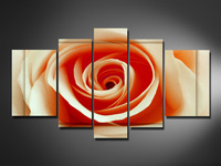 hand painted oil wall art Yellow blooming roses decoration Landscape Framed canvas oil painting 5pcs/set mixorde