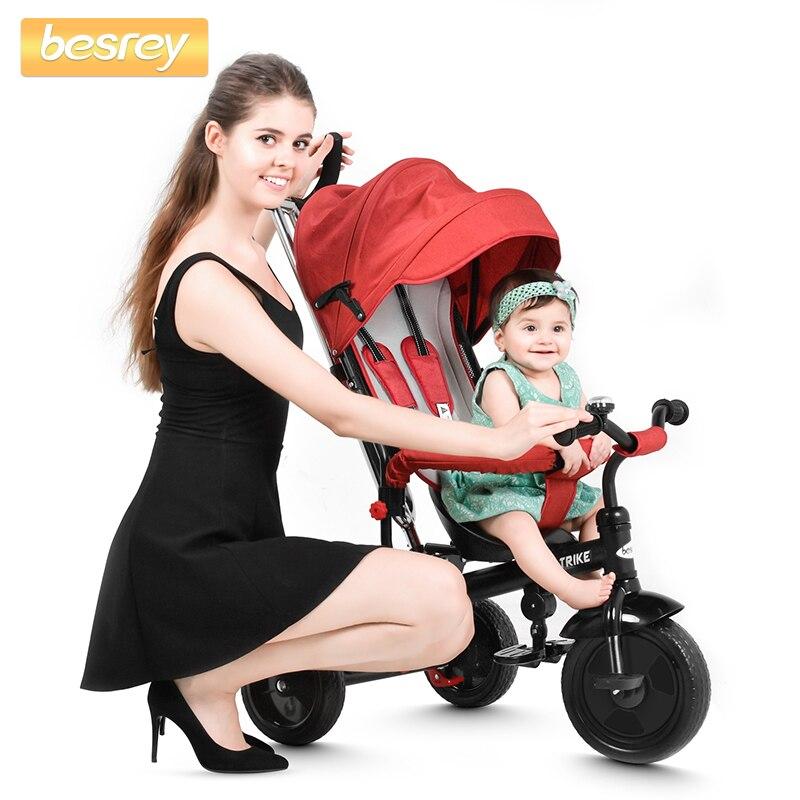 Besrey bébé Tricycle 4 en 1 Tricycle pousser trois roues poussette bébé chariot enfants vélo siège et équitation pour enfants landau