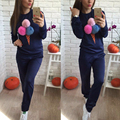 1 Pcs New Fashion Autumn Spring Version Women's Clothing Leisure Round Collar Casual Loose Print  Clothes Suit Plus Size
