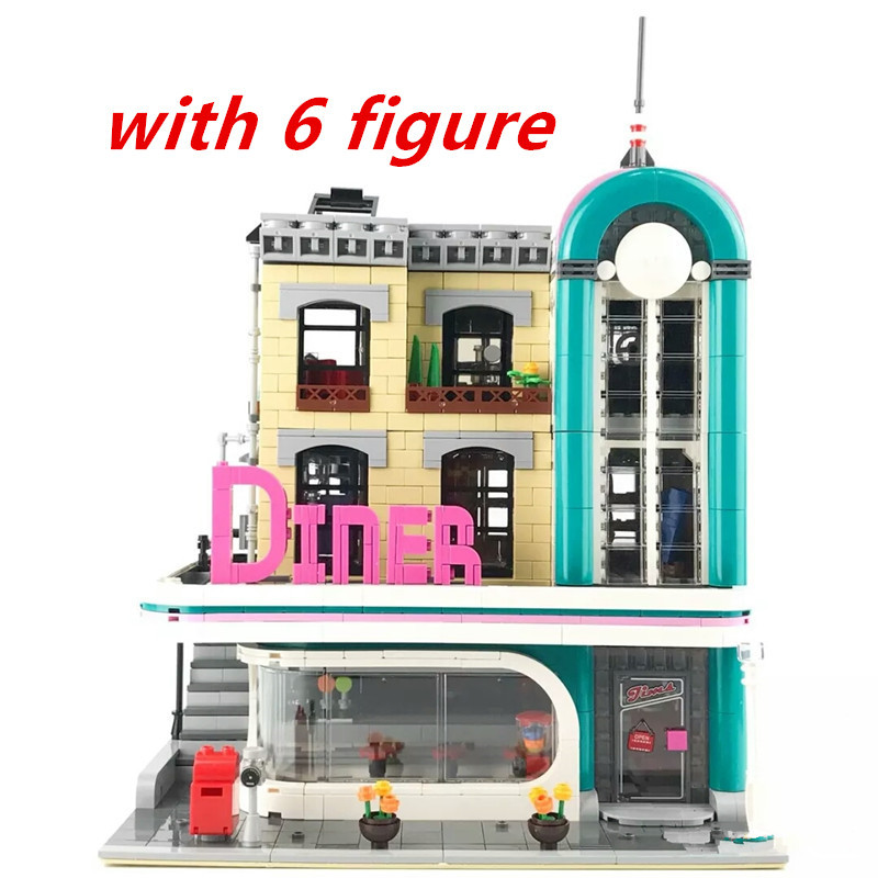 2778pcs Diy The Downtown Diner Set Genuine Streetview Series Building Blocks Compatible With Legoingly Bricks Toys For Children kazi 608pcs pirates armada flagship building blocks brinquedos caribbean warship sets the black pearl compatible with bricks