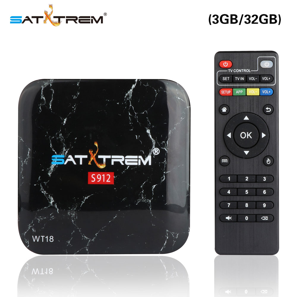 Satxtrem WT18 Android 7.1 TV Box 3G/32G Amlogic S912 Octa Core 64Bit 2.4G/5G Wifi 4K KODI 17.4 BT4.0 HD Media Player Set Top Box
