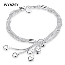 HOT Sale Fashion Tassel Hearts Bracelet 925 plated silver Bracelets Classic Wedding Party Jewelry Accessories For