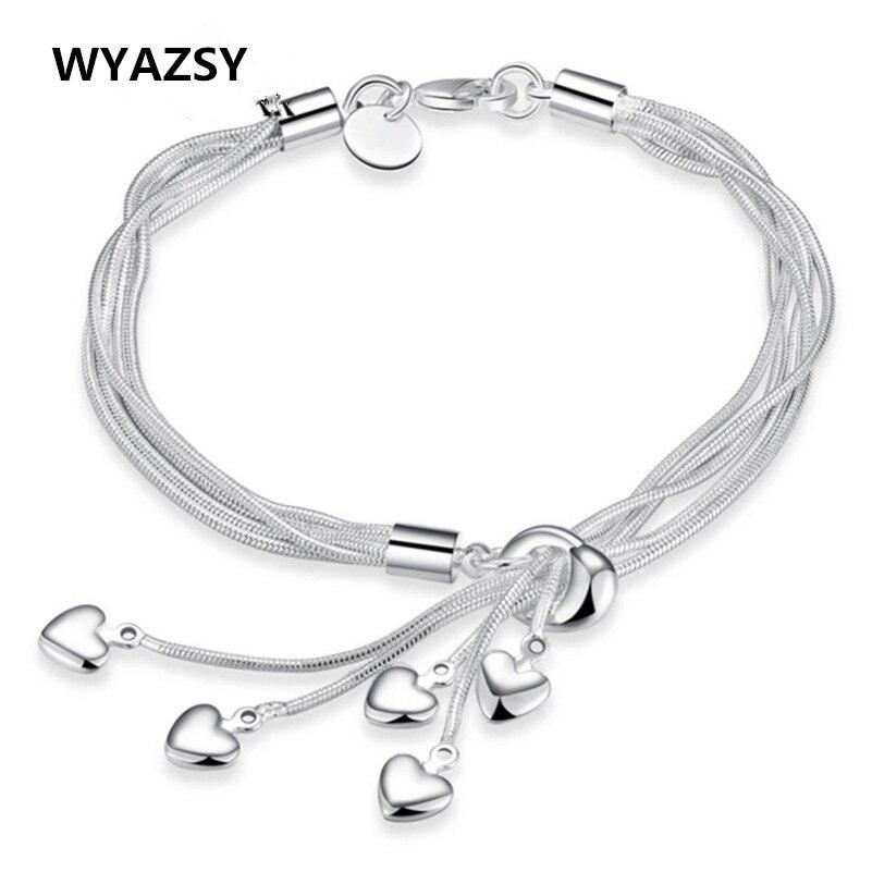 HOT Sale font b Fashion b font Tassel Hearts Bracelet 925 plated silver Bracelets Classic font