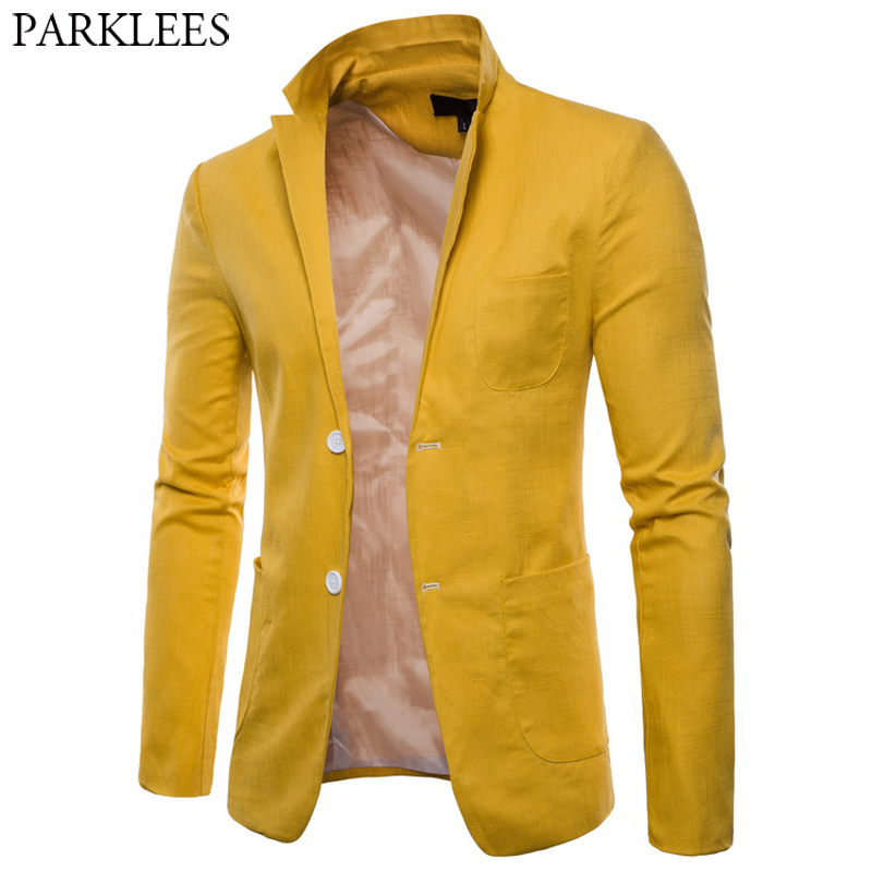 Mens Fashion Cotton Linen Slim Fit Blazer Jacket Lightweight Casual Solid Suit Blazer Men Casual Party Wedding Blazer Masculino