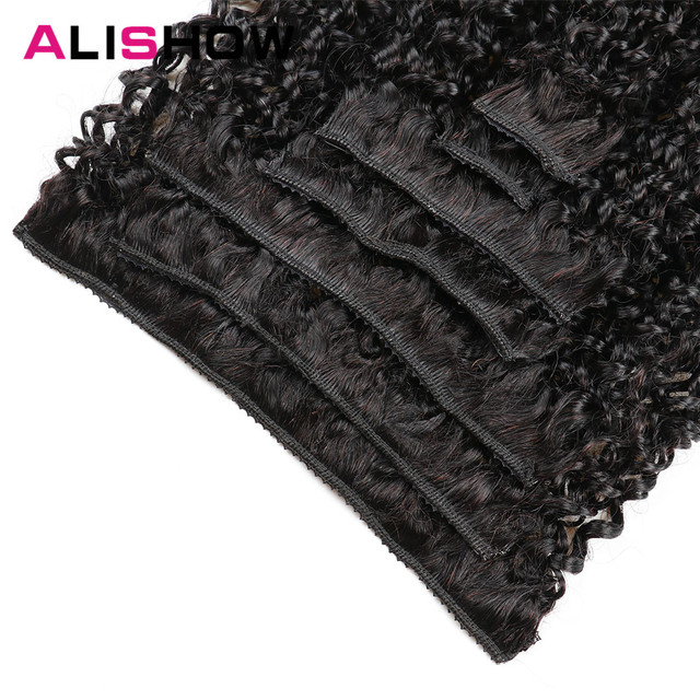Alishow Indian Afro Kinky Curly Weave Remy Hair Clip In Human Hair Extensions Natural Color Full Head 10Pcs/Set 120G Ship Free 1