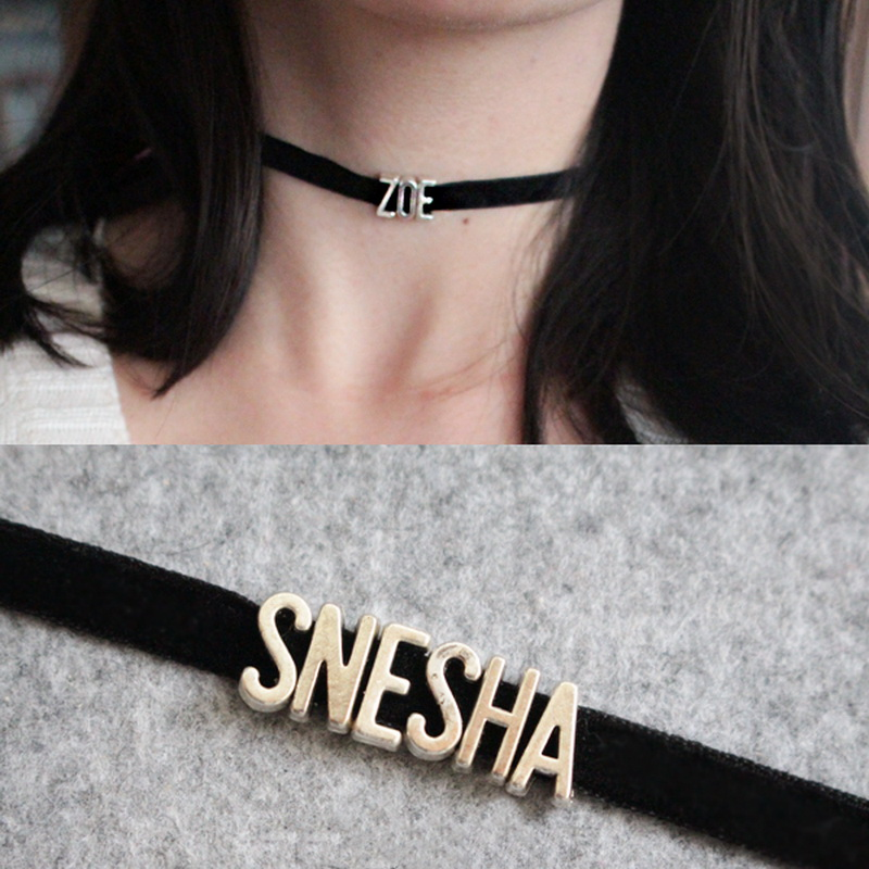 velvet chain word letter name initial personalised collar choker necklace UK