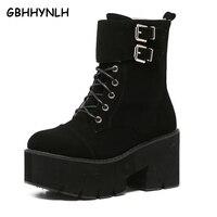 Zasznurować buty punk kobiety panie platformy Wysoki Obcas buty zimowe buty motocyklowe Botki buty wodoodporne śnieg kobiety LJA71