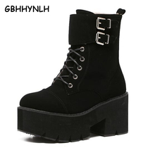 Купить с кэшбэком lace up punk boots women ladies platform boots High Heel winter shoes motorcycle Ankle Boots waterproof snow boots women LJA71