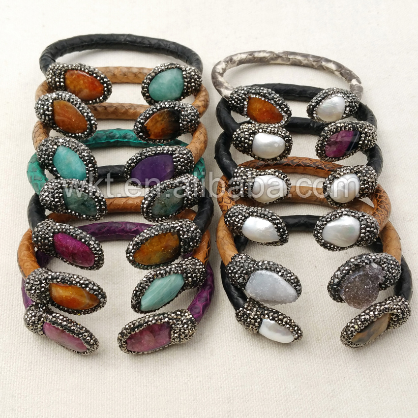 WT B279 Fashion Leather Bracelets Jewelry Genuine Leather Pearl Bracelet Natural At gate stone with rhinestone