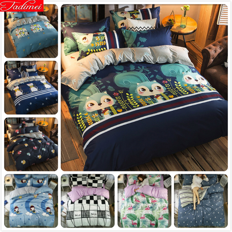 Squirrel Pattern 3/4 pcs Bedding Set Kids Child Adult Soft Bed Linen Single Twin Full Double Queen King Size Duvet Cover 150x200