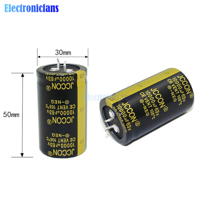 Diymore 63V 10000uF 30X50mm Electrolytic Capacitors 10000uF 63V Max 105 Celsius Size 30*50mm Aluminum Electrolytic Capacitor
