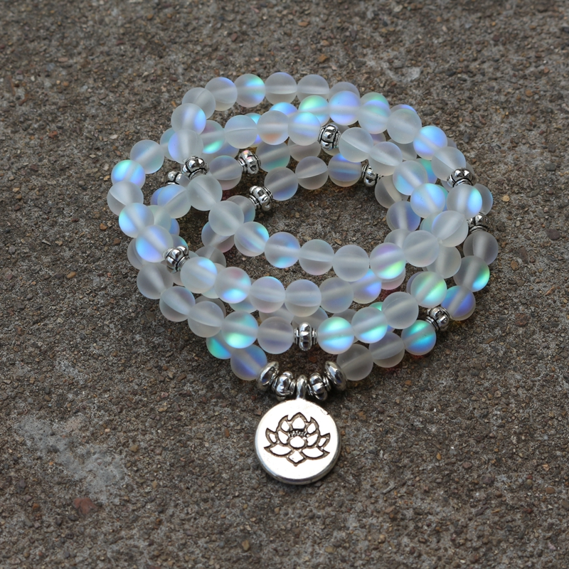 108 Beads / Matte Fantasy Crystal With Lotus / Buddha Charm Yoga Bracelet Natural Stone Jewelry
