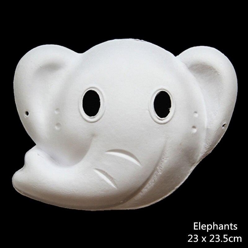 DIY papel blanco sin pintar Fox conejo elefante Animal máscara para ...