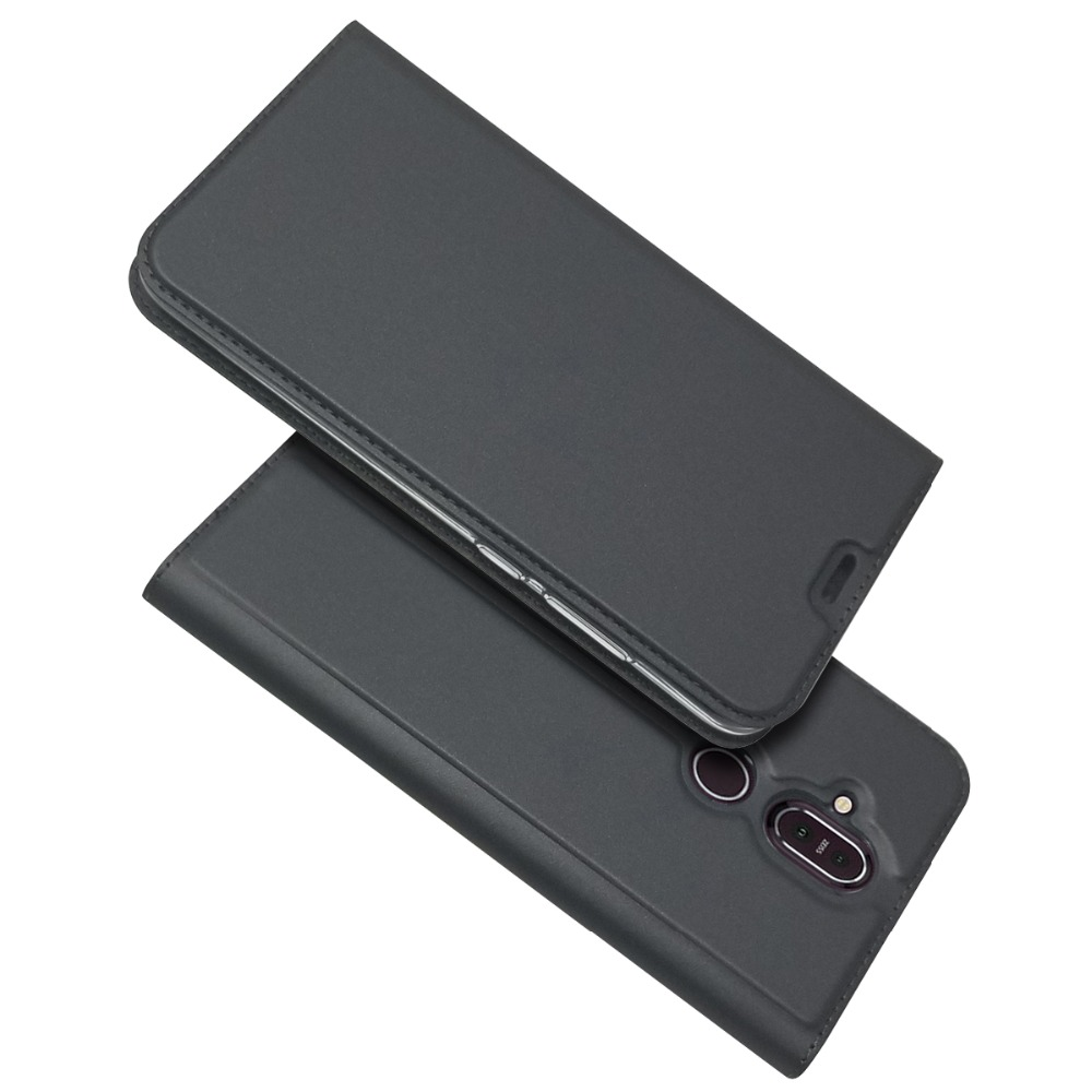 For <font><b>Nokia</b></font> <font><b>8.1</b></font> 7.1 Ultra Slim Magnetic Voltage <font><b>Case</b></font> Card Slot Holder Phone Bag Flip Sand Cover For <font><b>Nokia</b></font> 7.1 <font><b>8.1</b></font> Fundas shell image
