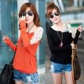 2016 nuevo tamaño más la camiseta manga del Batwing de invierno mujeres Tops Casual cordón del algodón camiseta Blusas Camisetas túnica naranja, negro, rosa