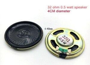 32R 2 PCS 32 ohm 0.5 watt speaker 0.5 W, 40 MM 4 CM de diâmetro, conectores de ultra-fino, espessura 5 MM trombeta FALANTE 40 MM Conectores