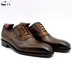Cie oxford patina di oliva di corrispondenza marrone intaglio disegno pieno fiore in pelle di vitello traspirante suola fatta a mano gli uomini di scarpe su misura di colore