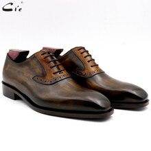 Cie oxford zapatilla oxford con diseño de talla grande para hombre, suela transpirable, hecha a mano, color marrón, diseño de talla grande