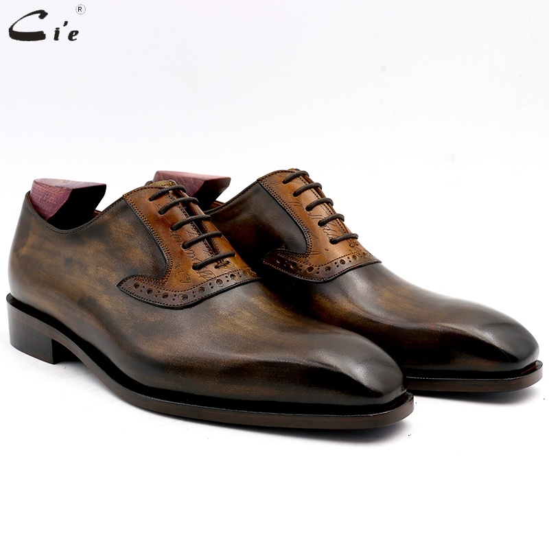 cie oxford patina olive matching brown carving design genuine calf leather outsole men leather readyshoe handmade