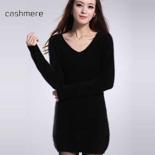 2019 autumn winter long sweater dress women wool sweater pullover casual lady knitted jumpers