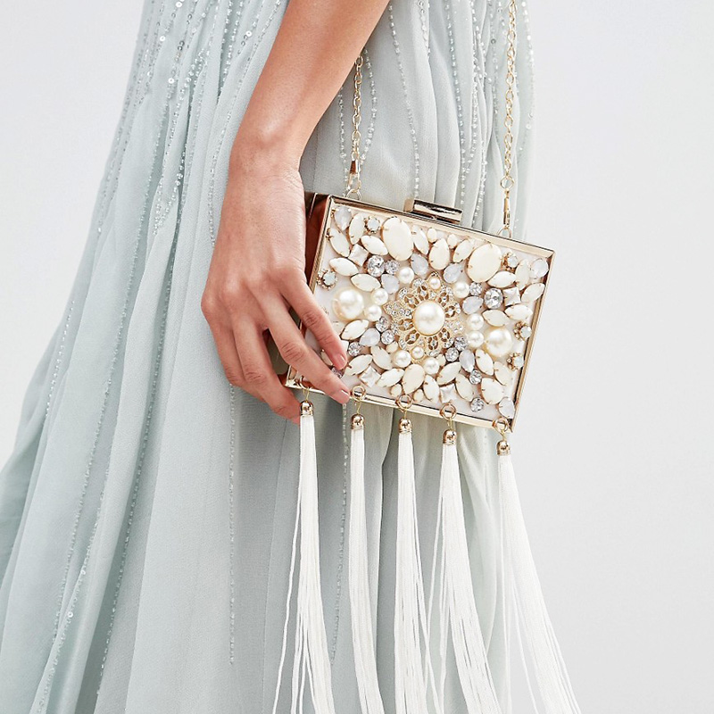 National Style Tassel Flap New Fashion Ladies Grace Bags Pearl Diamond Square Evening Bag Day Clutches Luxury Free Shipping