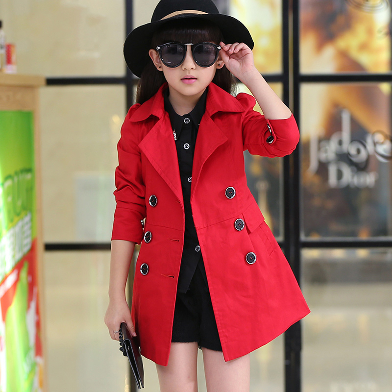 Children girls coat 2017 new Spring autumn girl jacket long design ...