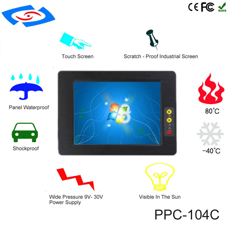 High Quality 10.4 Inch Fanless Industrial Touch Screen All In One Panel PC With Intel Atom N2800 Dual Core Resolution 800*600