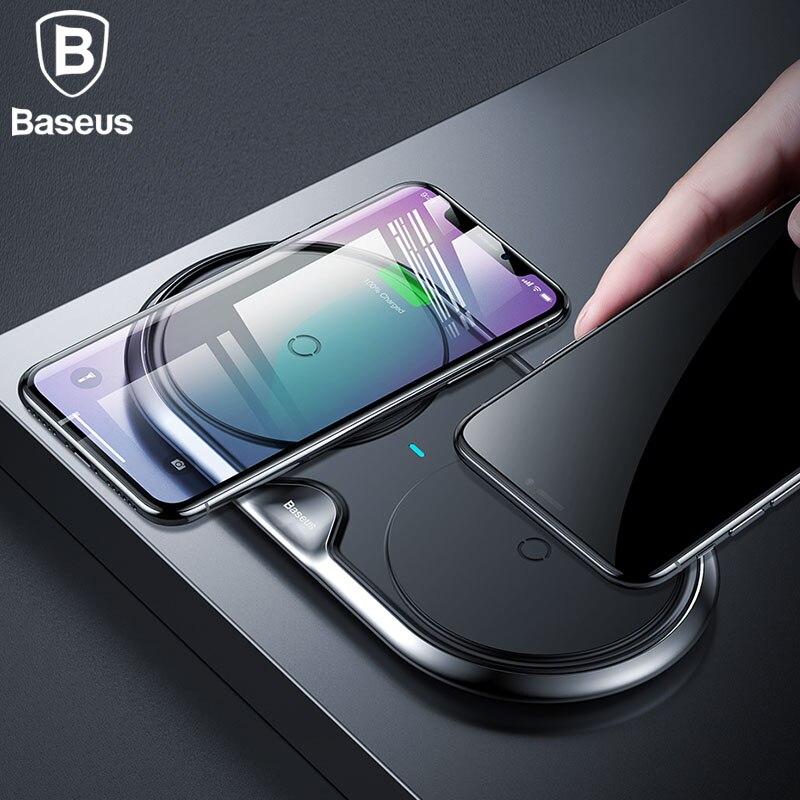 Baseus 10 W Double Siège Qi Sans Fil Chargeur Pour iPhone X 8 Samsung S9 S8 Note 8 Rapide De Charge Sans Fil De Charge pad De Bureau chargeur
